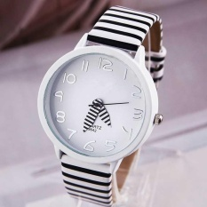 Fashion Siswa Watch Ladies Watches Wanita Zebra Stripes Watch Tahan Air QUARTZ Watches-Intl