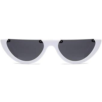 Pencarian Termurah Modis Kacamata Hitam Wanita Modis Segitiga Setengah Bingkai Tanpa Bingkai Kacamata Hitam Retro Super