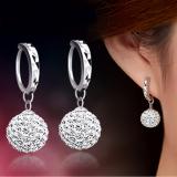 Spesifikasi Fashion Flash Super Bling Shamballa Putri Bola Kristal Penuh 925 Sterling Silver Perhiasan Anting Tindik Wanita Pesta Internasional Yg Baik