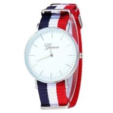 Fashion Tipis Dial Siam Kanvas Band Analog QUARTZ Wrist Watch-Intl