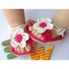 Fashion Trend Baby Newborn Bayi Gadis Crochet Merajut Rose Putih Kaus Kaki Crib Kasual Sepatu Prewalker 0-12 M- INTL