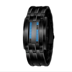 Harga Fashion Unik Pria Tungsten Steel Vakum Plating Lava Waterproof Binary System Led Elektronik Watch Casual Jam Tangan Rantai Watches Hitam Dengan Lampu Led Merah Tiongkok