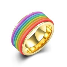 Fashion Unisex Perhiasan Stainless Steel Kuning Cincin Berlapis Emas untuk Hadiah TGR001-A