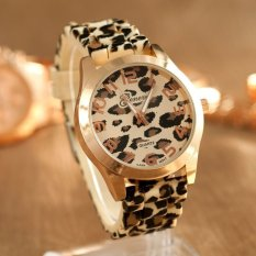 Fashion Unisex Leopard Silikon Kuarsa Analog Jelly Gel Wrist Watch Emas