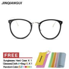 Fashion Vintage Retro Kacamata BrightBlack Bingkai Kacamata Polos untuk Miopia Wanita Kacamata Optik Kacamata Oculos Femininos Gafas- INTL
