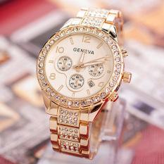 Jual Fashion Wanita Mewah Jenewa Kristal Kuarsa Perhiasan Emas Gratis Pengiriman Branded Original