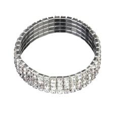 Fashion Pernikahan Bridal Bening Kristal Berlian Imitasi 4 Baris Peregangan Elastis Bangle Gelang-Intl