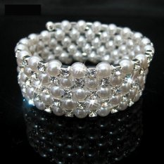 Fashion Pernikahan Bridal Bening Pearl Crystal Berlian Imitasi 5 Baris Stretch Elastis Bangle Gelang (Intl