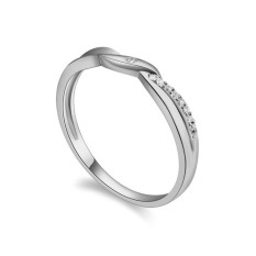 Fashion Emas Putih Berlapis Kelas ATAS CZ Diamond Cincin Pernikahan Perhiasan Hadiah Terbaik untuk Wanita (Silver)-Intl