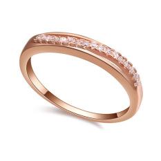 Fashion Emas Putih Berlapis Kelas ATAS CZ Diamond Pernikahan Cincin Perhiasan untuk Wanita (Rose Emas)-Intl