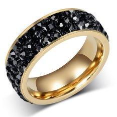 Fashion Wanita Hitam Kristal Cincin Baja Tahan Karat Cincin Pernikahan untuk Wanita, China Perhiasan Pesta