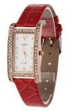 Toko Fashion Wanita Bling Berlian Imitasi Pu Kotak Jam Tangan Tali Kulit Merah Termurah Tiongkok