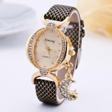Beli Fashion Wanita Gelang Bangle Leather Crystal Dial Quartz Analog Watch Black Intl Murah