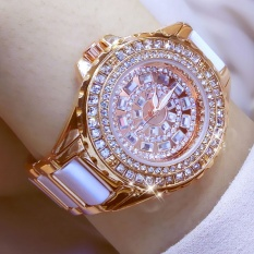 Fashion Women Luxury Brand Crystal Dress Watch Shinning Diamond Rhinestone Ceramic Wristwatch Quartz Watch - intl