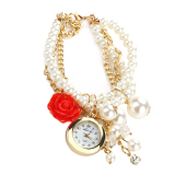 Beli Fashion Wanita Mutiara Mawar Kuarsa Analog Dial Watch Gelang Merah Not Specified