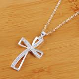 Ulasan Fashion Wanita Adapula 925 Sterling Silver Perhiasan Kalung Salib Liontin Kristal Internasional
