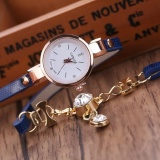 Beli Fashion Wanita Ladies Faux Kulit Berlian Imitasi Gaun Analog Quartz Wrist Watches Deep Blue Baru