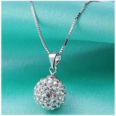 Fashion Wanita 925 Sterling Perak Rantai Kalung Liontin Kristal Berlian Imitasi