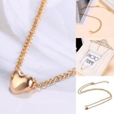 Fashion Womens Heart Bib Pernyataan Berlapis Emas Rantai Liontin Kalung Perhiasan Hadiah-Intl