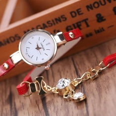 Fashion Wanita Ladies Faux Kulit Rhinestone Gaun Analog Quartz Wrist Watches Merah Intl Oem Diskon 30