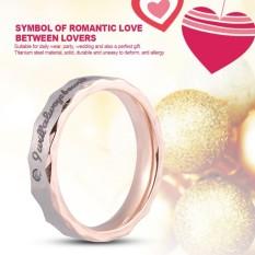 Modis Pria Wanita Titanium Baja Pertunangan Sepanjang Berlian Buatan Lingkaran (8 # Mawar Gold Wanita)-Internasional