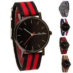 Fashional Unisex Casual Penunjuk Dial Striped Kanvas Band QUARTZ Wrist Watch-Intl
