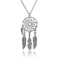 Feather Wing Dream Catcher Necklace Bohemian Dreamcatcher Necklaces Jewelry Decoration (Feather) - intl
