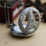 Jual Feelontop New Arrival Antique Hollow Out Flower And Tower Bridge Shape Vintage Retro Pocket Watch Branded