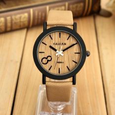 Beli Feifan Pria Vintage Kayu Dial Quartz Casual Leather Wrist Watch Intl Cicil