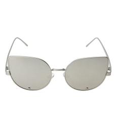 Wanita Mata Kucing Trendi Berlian Kacamata Hitam (Bingkai Perak Putih Quicksilver)-Intl