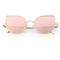 Harga Hemat Wanita Cat Eye Trendy Berlian Kecil Sunglasses Bingkai Emas Rose Emas Intl