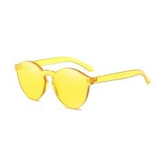 Female Frameless Bening Kopel Lensa Berwarna-Warni Paling Trendi Kacamata Hitam Chic (Kuning)-Satu Ukuran