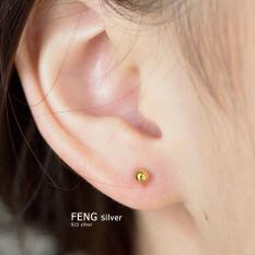 Fengzhiyin S925 Pembohong Emas Warna Manik-manik Kecil Kuku Tulang Telinga Perak Anting