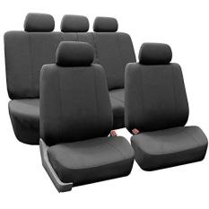 FH Group FH-FB052115 Penuh Set Multifungsi Datar Kain Mobil Kursi Sarung, Airbag Siap dan Terbelah, warna Arang-Sesuai Paling Mobil, Truk, SUV, atau Van-Internasional