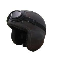 Helm Broco Pilot Kacamata Retro Polos - Black