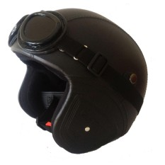 Fia Helm Retro Full Synthetic Leather dewasa / Remaja + Kaca Mata - Hitam
