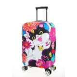 Promo Flora Stretchable Elasticy 22 24 Inch Waterproof Suitcase Luggage Cover To Travel Tabby Cat Intl Murah