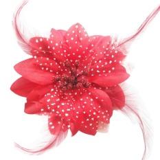 Flower Feather Fascinator Bead Jilbab Bros Ladies Merah-Intl