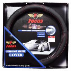 Focus Sarung Stir Mobil Bahan Kulit Hitam Asli