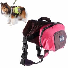 Foldable PET Saddle Bag Operator Lucu Backpack untuk Anjing Nilon Harness Outdoor Daypack untuk Golden Retriever, Alaskan Malamute, Husky, dll (Pink, M)-Intl