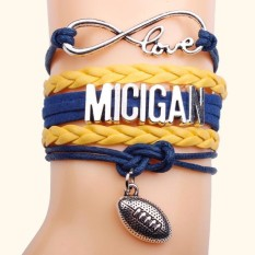 Football Handmade Leather Braid Fashion Gelang-Intl