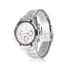 Cara Beli Forsining Business Style Fully Automatic Mechanical Hollow Out Dial Men S Watchsilver