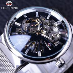 Review Forsining Casual Stainless Steel Mens Mechanical Skeleton Watch Intl Forsining