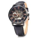 Jual Forsining Pria Auto Mechanical Leather Wrist Watch Hitam Original