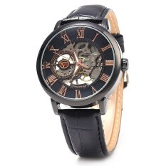 Beli Forsining Pria Auto Mechanical Leather Wrist Watch Hitam Yang Bagus