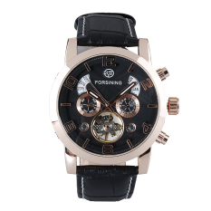 Spesifikasi Forsining Men S Watch Automatic Mechanical Leather Wrist Watches Black Dial Rose Gold Case Black Band Beserta Harganya