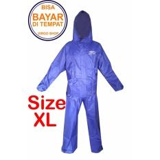 Fortune Jas Hujan Stelan Jaket Celana Parasut TasLan Bahan Seperti Jas Hujan Axio - Biru XL