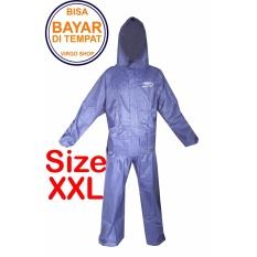 Fortune Jas Hujan Stelan Jaket Celana Parasut TasLan Bahan Seperti Jas Hujan Axio - Biru Tua XXL