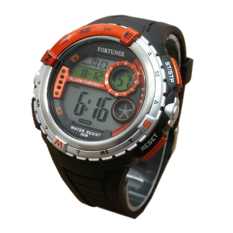 Review Fortuner Digital Jam Tangan Pria Hitam Orange Rubber Strap F618 Indonesia