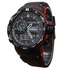 Harga Fortuner Dual Time Jam Tangan Pria Rubber Strap Fr 643 H Hitam Merah Baru Murah